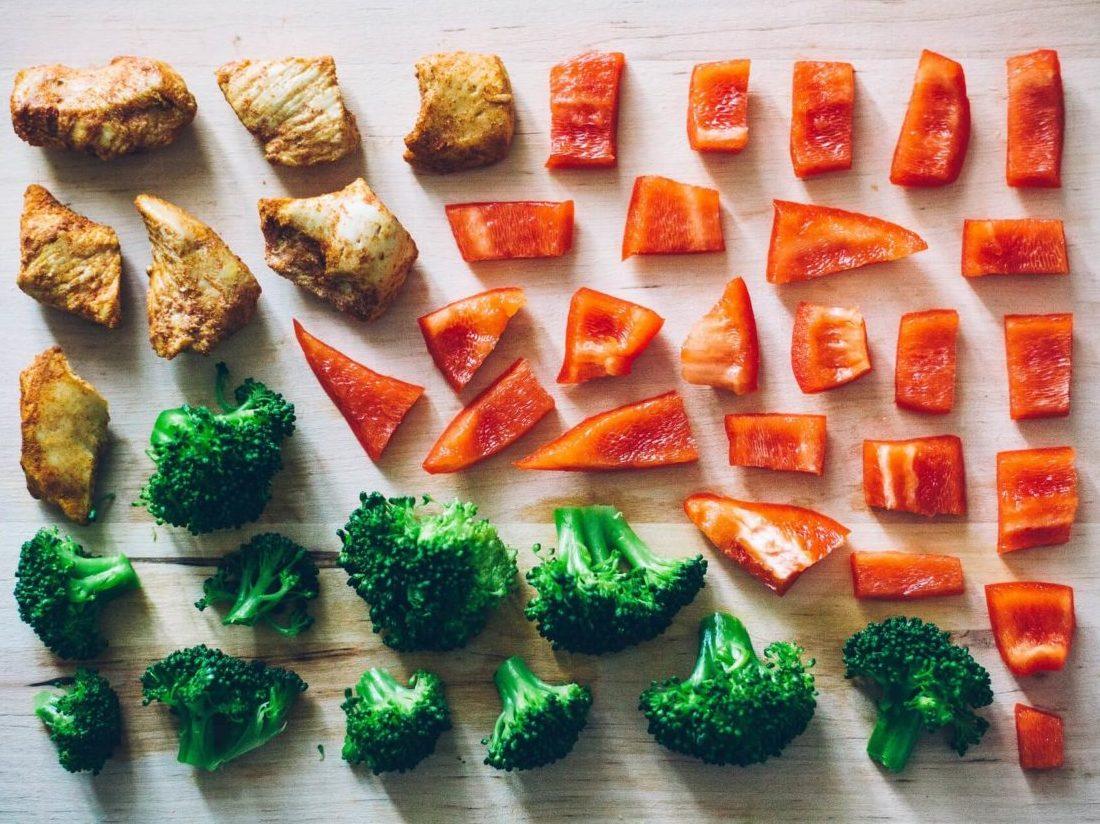 肉とパプリカとブロッコリー